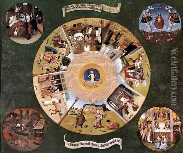 The Seven Deadly Sins c. 1480 Oil Painting - Hieronymous Bosch