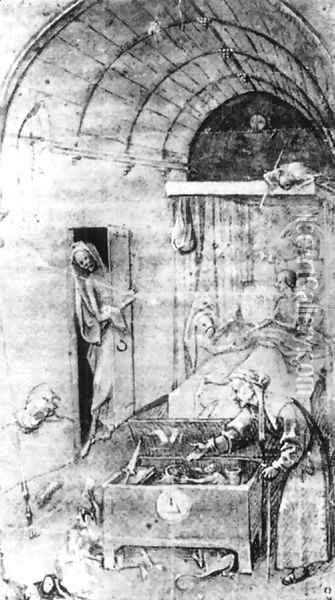 Death and the Miser Oil Painting - Hieronymous Bosch