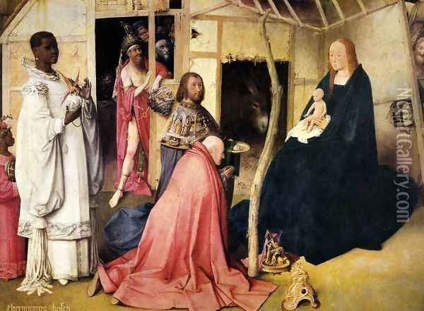 Adoration of the Magi (detail 1) c. 1510 Oil Painting - Hieronymous Bosch