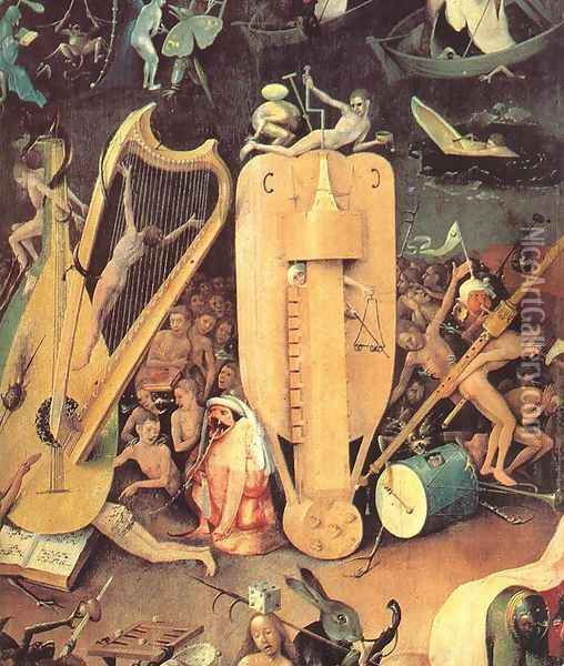 Garden of Earthly Delights, detail of right wing Oil Painting - Hieronymous Bosch