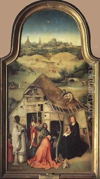 Adoration of the Magi (central panel) c. 1510 Oil Painting - Hieronymous Bosch