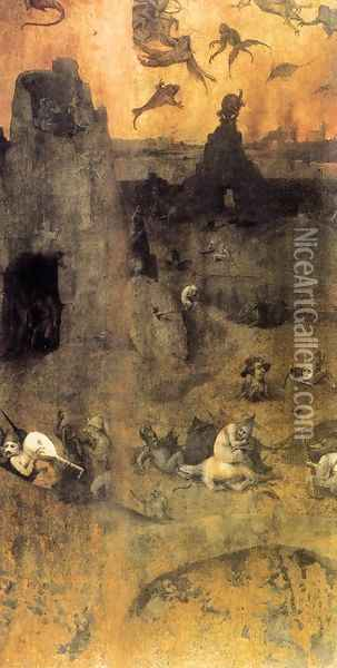 The Fall of the Rebel Angels (obverse) 1500-04 Oil Painting - Hieronymous Bosch