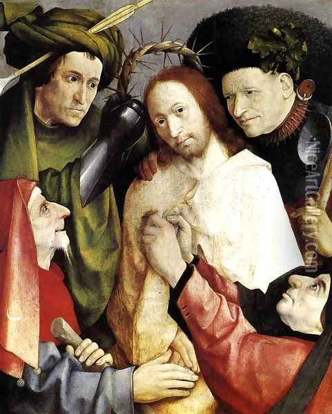 Christ Mocked (Crowning with Thorns) 1495-1500 Oil Painting - Hieronymous Bosch