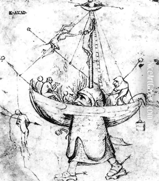 The Ship of Fools in Flames Oil Painting - Hieronymous Bosch