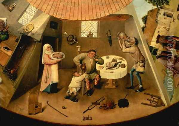 Greed, Scene from the Table of the Seven Deadly Sins Oil Painting - Hieronymous Bosch