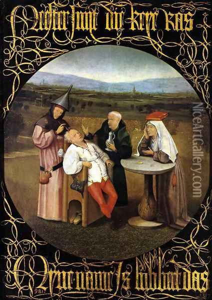 The Cure of Folly (Extraction of the Stone of Madness) 1475-80 Oil Painting - Hieronymous Bosch