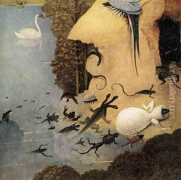 Triptych of Garden of Earthly Delights (left wing) (detail 3) c. 1500 Oil Painting - Hieronymous Bosch