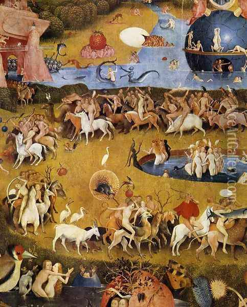 Triptych of Garden of Earthly Delights (detail 3) c. 1500 Oil Painting - Hieronymous Bosch