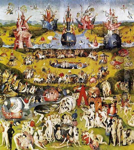 Triptych of Garden of Earthly Delights (central panel) c. 1500 Oil Painting - Hieronymous Bosch