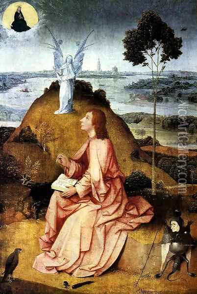 St John the Evangelist on Patmos 1504-05 Oil Painting - Hieronymous Bosch