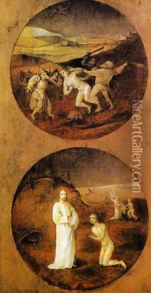 Mankind Beset by Devils (reverse of Noah panel) 1500-04 Oil Painting - Hieronymous Bosch