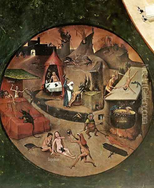 The Seven Deadly Sins (detail 1) c. 1480 Oil Painting - Hieronymous Bosch