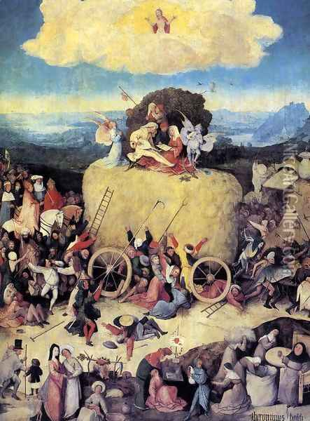 Triptych of Haywain (central panel-1) 1500-02 Oil Painting - Hieronymous Bosch