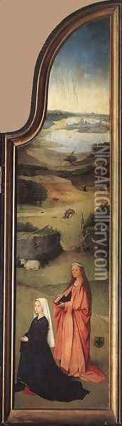 St Peter with the Donor (right wing) c. 1510 Oil Painting - Hieronymous Bosch