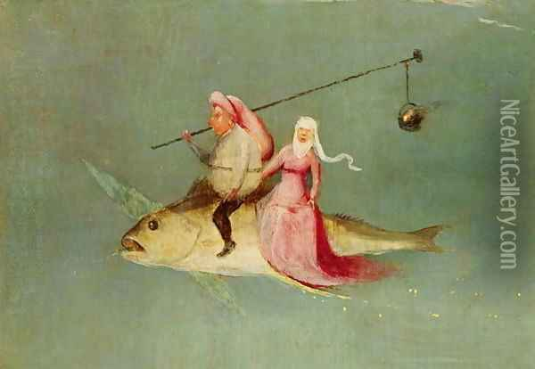 The Temptation of St. Anthony, right hand panel (detail of a couple riding a fish) Oil Painting - Hieronymous Bosch