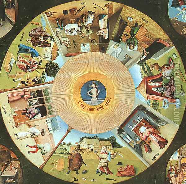 Tabletop of the Seven Deadly Sins and the Four Last Things, (detail of The Eye of God which Sees the Committing of the Seven Deadly Sins) Oil Painting - Hieronymous Bosch