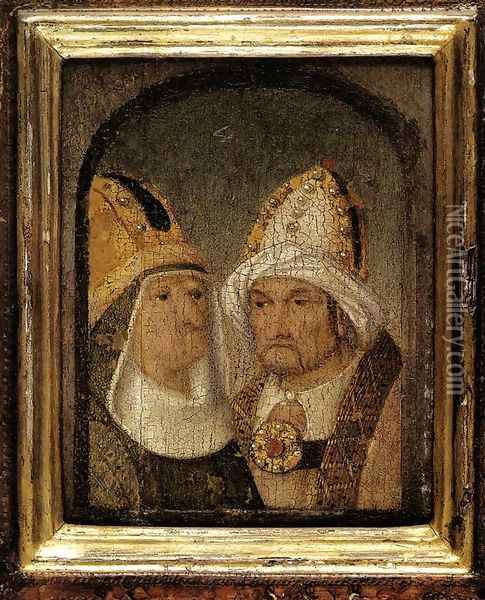 Two Male Heads Oil Painting - Hieronymous Bosch