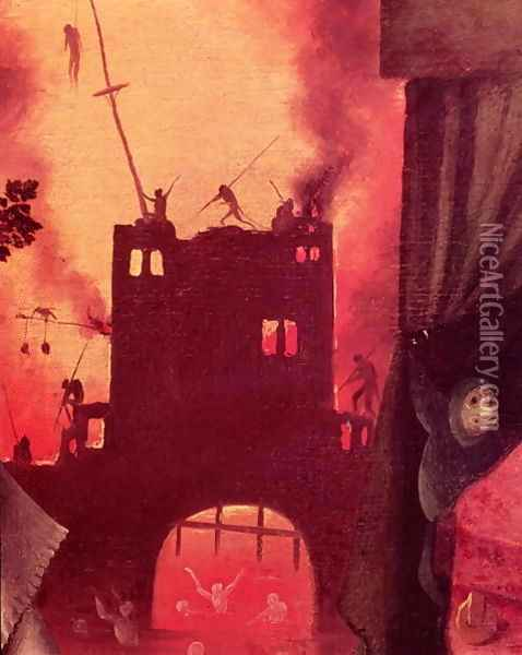 Tondal's Vision (detail of the burning gateway) Oil Painting - Hieronymous Bosch