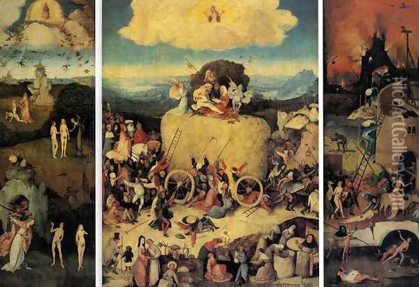 Triptych of Haywain (1) 1500-02 Oil Painting - Hieronymous Bosch