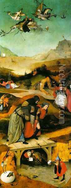 Temptation of St. Anthony, left wing of the triptych Oil Painting - Hieronymous Bosch