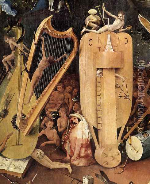 Triptych of Garden of Earthly Delights (right wing) (detail 6) c. 1500 Oil Painting - Hieronymous Bosch