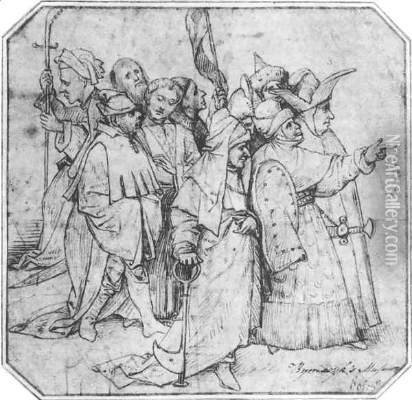 Group of Male Figures Oil Painting - Hieronymous Bosch