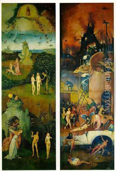 Paradise and Hell, left and right panels of a triptych Oil Painting - Hieronymous Bosch