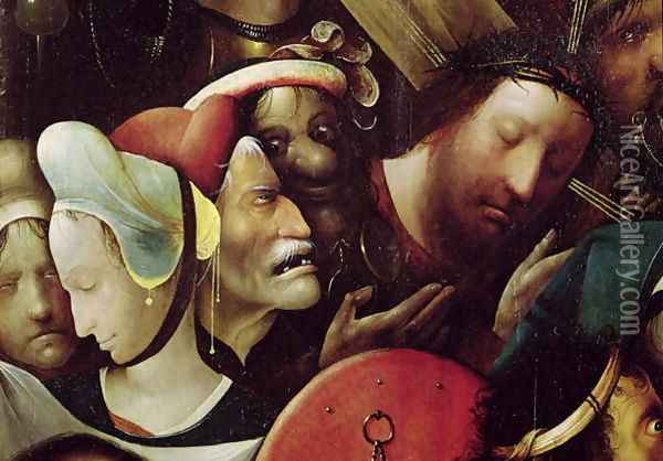 The Carrying of the Cross (detail of Christ and St. Veronica) Oil Painting - Hieronymous Bosch