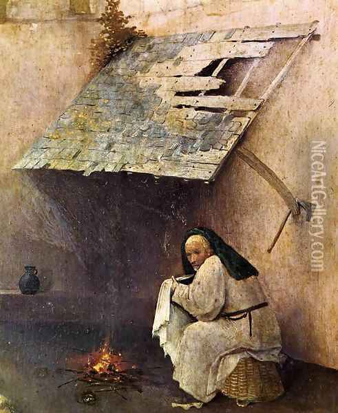 St Peter with the Donor (left wing) (detail) c. 1510 Oil Painting - Hieronymous Bosch