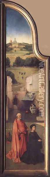 St Peter with the Donor (left wing) c. 1510 Oil Painting - Hieronymous Bosch