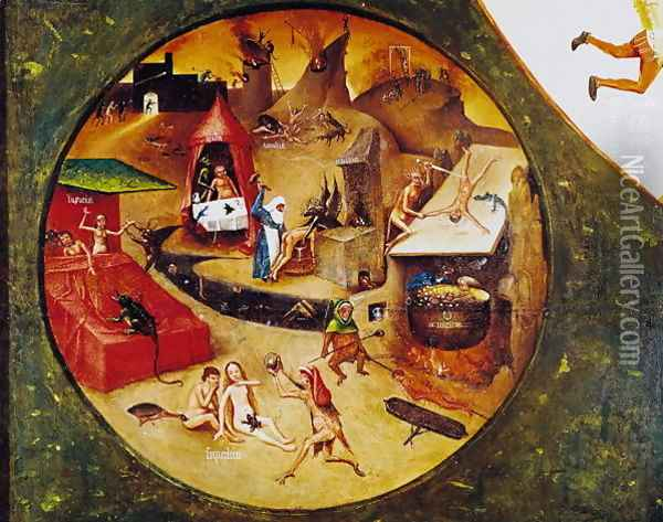 Tabletop of the Seven Deadly Sins and the Four Last Things (detail of Hell) c.1480 Oil Painting - Hieronymous Bosch