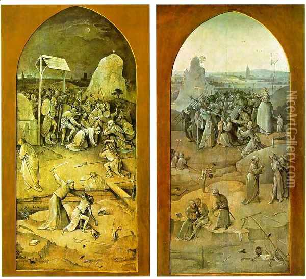 Tiptych of Temptation of St Anthony (outer wings) Oil Painting - Hieronymous Bosch