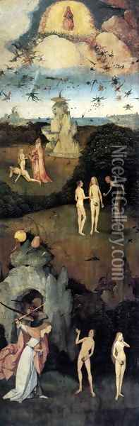 Triptych of Haywain (left wing-1) 1500-02 Oil Painting - Hieronymous Bosch