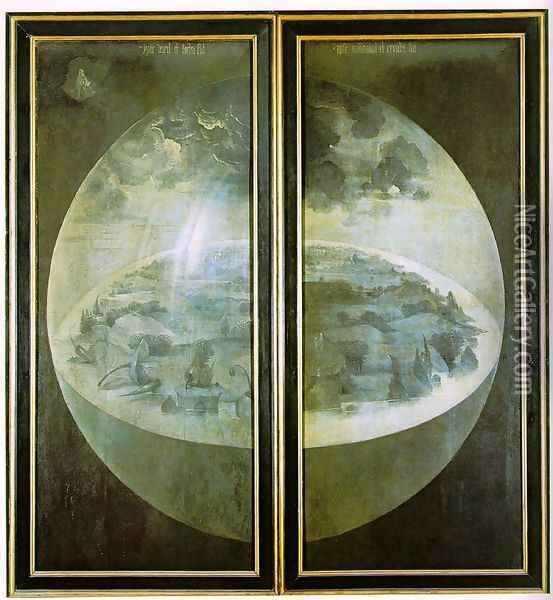 Garden of Earthly Delights, outer wings of the triptych Oil Painting - Hieronymous Bosch