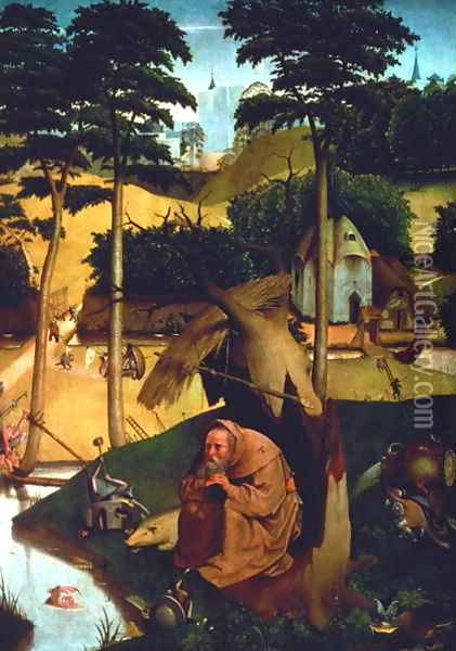 Temptation of St. Anthony 1490 Oil Painting - Hieronymous Bosch