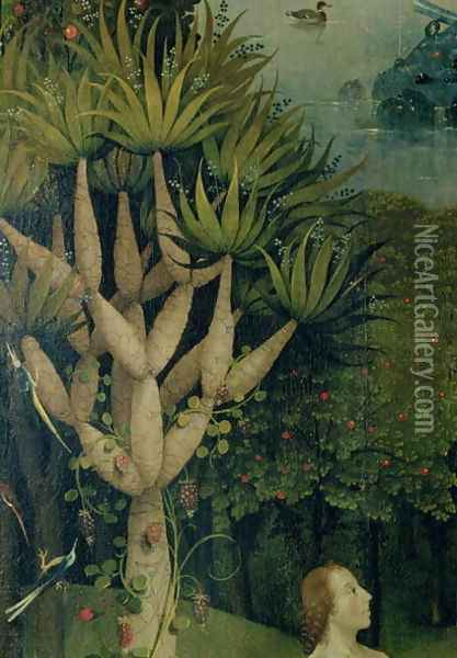 The Tree of the Knowledge of Good and Evil, detail from the right panel of The Garden of Earthly Delights, c.1500 Oil Painting - Hieronymous Bosch