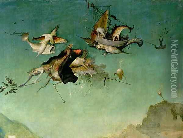 Temptation of St.Anthony (detail of left hand panel) Oil Painting - Hieronymous Bosch