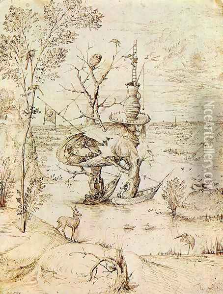 The Man-Tree Oil Painting - Hieronymous Bosch