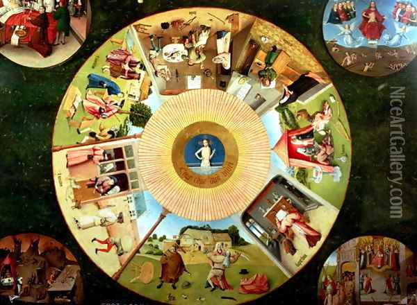 Tabletop of the Seven Deadly Sins and the Four Last Things (2) Oil Painting - Hieronymous Bosch