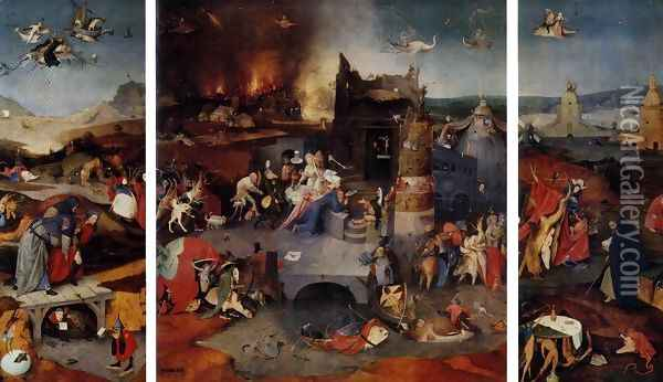 Triptych of Temptation of St Anthony Oil Painting - Hieronymous Bosch