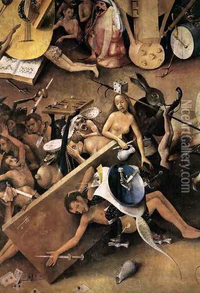 Triptych of Garden of Earthly Delights (detail) 9 Oil Painting - Hieronymous Bosch
