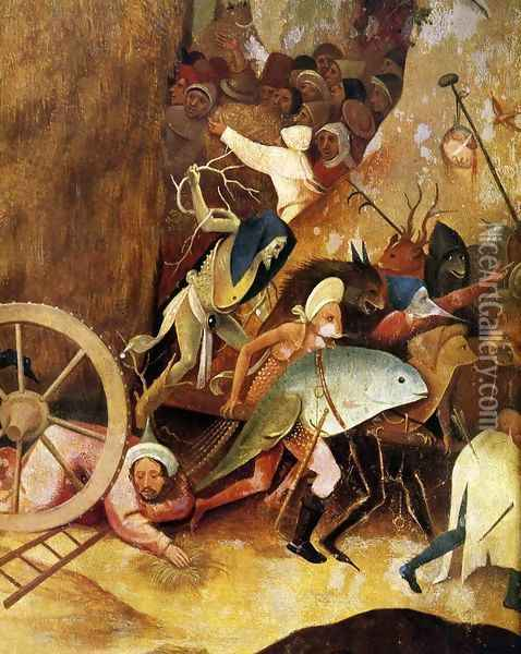 Triptych of Haywain (detail) Oil Painting - Hieronymous Bosch