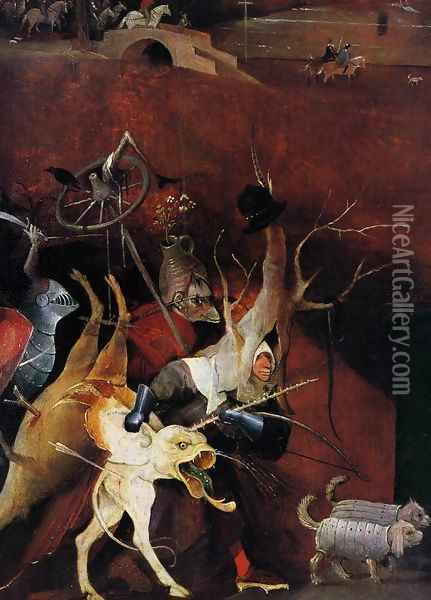 Triptych of Temptation of St Anthony (detail) Oil Painting - Hieronymous Bosch