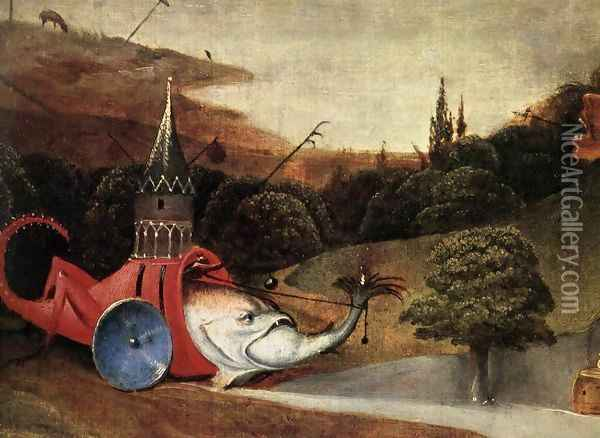 Triptych of Temptation of St Anthony (detail) 10 Oil Painting - Hieronymous Bosch