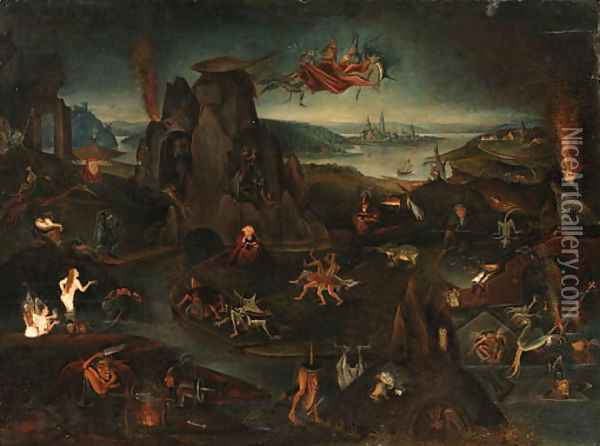 The Temptation of Saint Anthony Oil Painting - Hieronymous Bosch