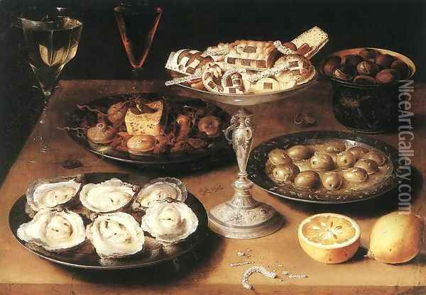 Still-Life with Oysters and Pastries 1610 Oil Painting - Osias, the Elder Beert