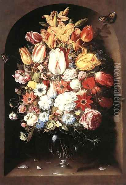 Bouquet in a Niche Oil Painting - Osias, the Elder Beert