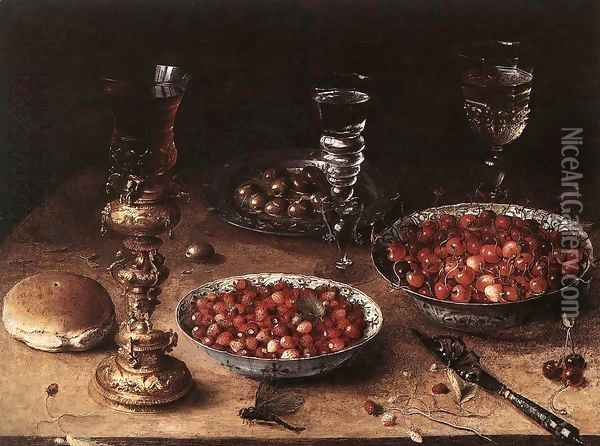 Still-Life with Cherries and Strawberries in China Bowls 1608 Oil Painting - Osias, the Elder Beert