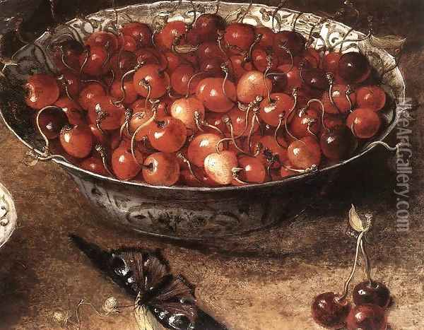 Still-Life with Cherries and Strawberries in China Bowls (detail) Oil Painting - Osias, the Elder Beert