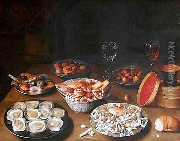 Still Life with Oysters Oil Painting - Osias, the Elder Beert